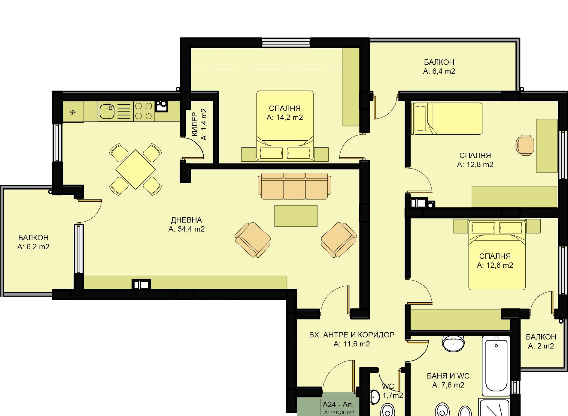 Complex family 3 three bedroom apartments www for Apartment complex layout